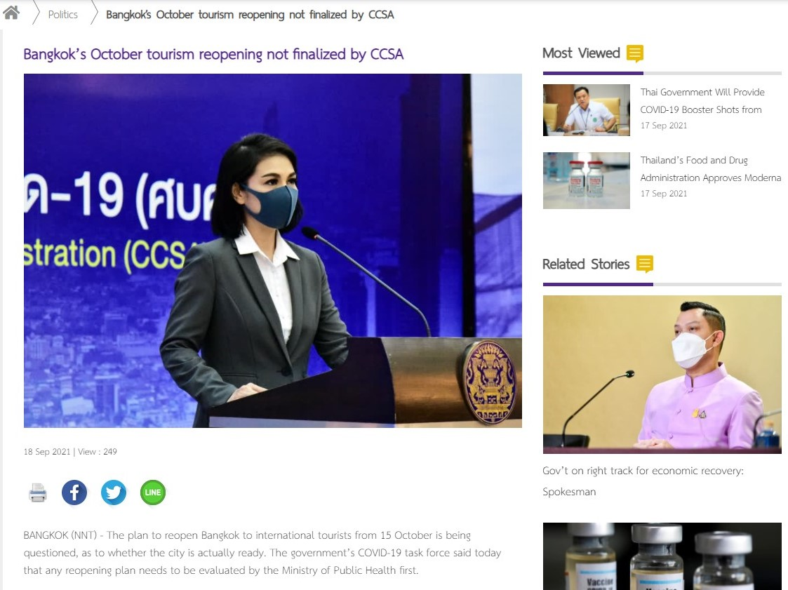 Bangkok's October tourism reopening not finalized by CCSA